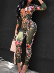 Dark Green Random Floral Pattern Plunging V-neck Long Sleeves Sexy Jumpsuit