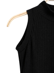 Black Sleeveless Crew Neck Knitted Mini Dress