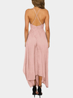 Sexy V-neck & Asymmetrical Maxi Dress in Pink