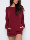 Burgundy Solid Color Side Pockets Mini Dresses