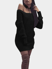 Black One Shoulder Backless Lace-up Details Sweater Dress