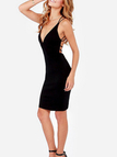 Black Deep V-neck Criss-cross Back Bodycon Mini Dress
