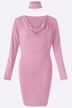 Pink V-neck Long Sleeves Bodycon Dress with Choker