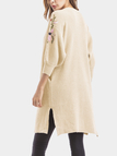 Cream Embroidered Lantern Sleeves Cardigan