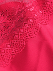 Red Deep V-neck Hollow Lace Detail Pajamas