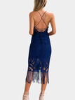 Blue Sexy Deep V-neck & Backless Lace Midi Dress