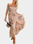 Khaki Random Floral Print Off The Shoulder Beach Dress With Splited Hem