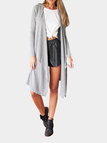 Grey Long Sleeves Irreular Hem  Longline Cardigan