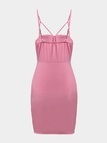 Pink Sexy Sleeveless Bodycon hem Cami Dress