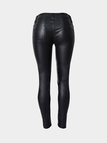 Skinny PU Pants With Zip Detail