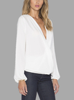 Long Sleeve Wrap Front Chiffon Blouse in White