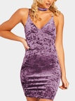 Purple Velvet Sexy V-neck Bodycon Dress with Choker Design