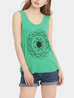 Casual Green Random Pattern Round Necklace Vest