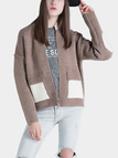 Khaki Drop Shoulder Zip Front Knitwear