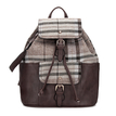 Beige Checked Canvas Leather-look Backpack with Drawstring