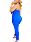 Blue Sexy Tube Top Jumpsuit with Self-tie Waist