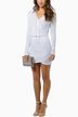 White Plunge V-Neck Wrap Mini Dress