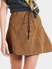 Suedette Mini Skirt with Drawstring Details