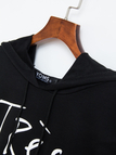 Black Casual Letter Pattern Hoodie With Front Pockets