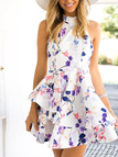 Floral Print Sleeveless Open Back Mini Dress