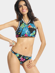 Jungle Tropical Print Bikini Set with Sports Rib Trim