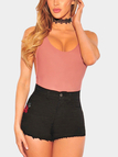 Black Random Rose Embroidered High Waist Bodycon Denim Shorts