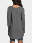 Dark Grey V-neck Long Sleeves Knitted T-shirts