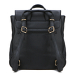 Black Leather Look Backpack
