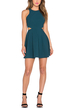 Turquoise A-Line Dress With Cutout Detail