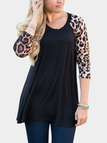Black Cozy Round Neck Raglan Sleeves Leopard Print Top