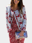 Random Floral Print Zipper Design Long Sleeves Coat