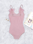 Pink Mesh Lace-applique V-neck Teddy