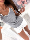 Grey Scoop Neck Crochet Floral Lace Trim Cami Top