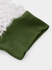 Green Lace Patchwork Hollow Out V-neck T-shirt