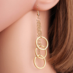 Gold Plated Copper & Ring Drop Earrings