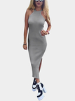 Grey Knit Halter Neck Slit Side Bodycon Midi Dress