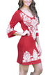 Red Random Floral Print Round Neck Long Sleeves Dress