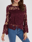 Burgundy See-through Lace Details Round Neck Long Sleeves Sexy Top