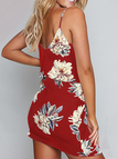Random Floral Print Stretch Waist Sleeveless Strappy Dress in Red