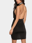 Halter Sexy Black Backless Irregular Hem Mini Dress