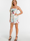 Random Floral Print Off Shoulder Tight Waist Playsuit