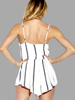 Semi Sheer Stripe Pattern Open Back Playsuit