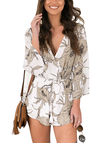 Floral Print Long sleeves Drawstring Waist Playsuit