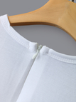 White Sexy Ripped Details Short Sleeves Dress