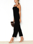Black Zip Back Square Neck Sleeveless Wide Leg Jumpsuit