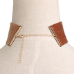 Brown Minimalism Suede Choker Necklace