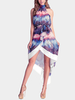 Halter Design Random Print Pattern Backless Split Hem Dress