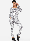 White Leopard Round Neck Long Sleeves Two Piece Outfit
