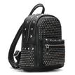 Black Leather-look Backpack with Rivet Design