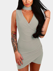 Grey Wrap Choker Irregular Hem Mini Dress